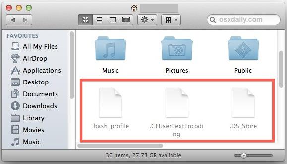 hiển thị file ẩn macos