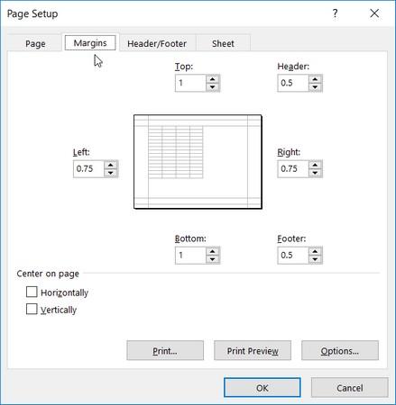 Điều chỉnh lề báo cáo của bạn từ tab Lề trong hộp thoại Page Setup