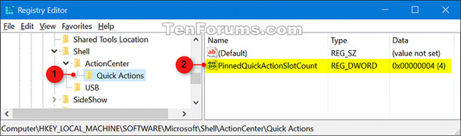 Duyệt đến key Quick Actions trong Registry Editor