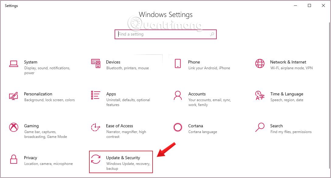 Nhấn chọn Update & security trong Windows Settings