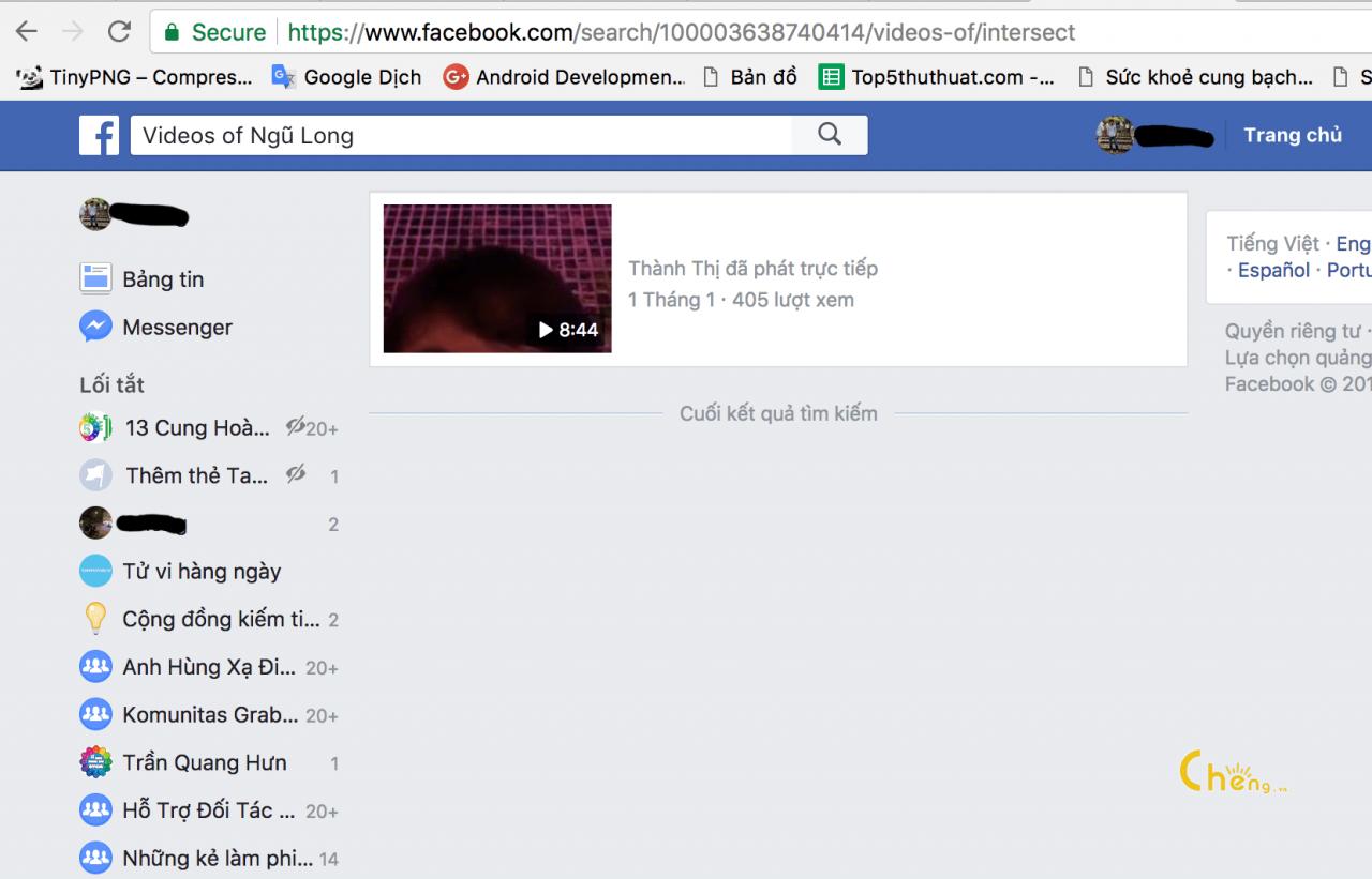 Thủ thuật xem các video người nào đó được TAG vào trên Facebook