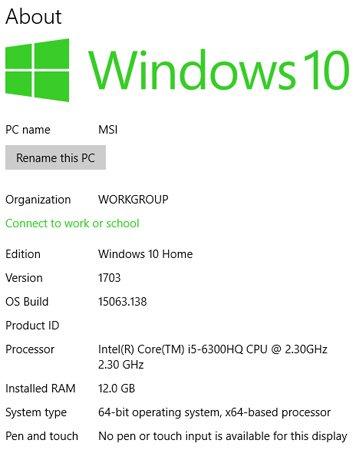 Thông số kỹ thuật trong Windows 10